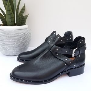 HALOGEN HAILEY BLACK STUDDED ANKLE BOOTS